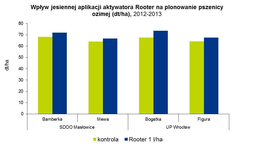 Wpływ jesiennej aplikacji aktywatora Rooter na plonowanie pszenicy ozimej (dt/ha), 2012-2013